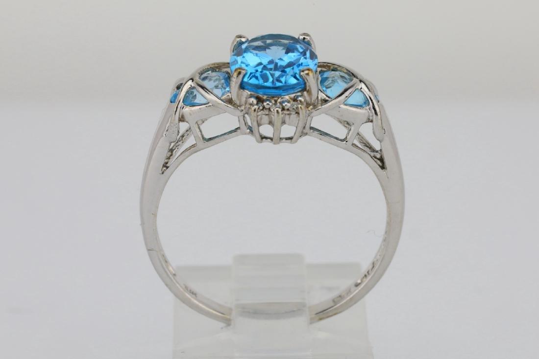 3.00ctw Blue Topaz & 10K White Gold 3-Stone Ring - 5