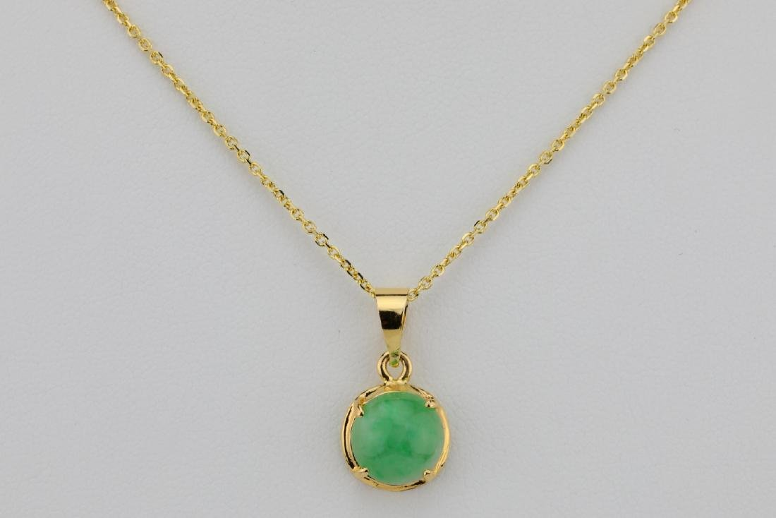 "10mm Jade & Solid 14K Yellow Gold 16"" Necklace"