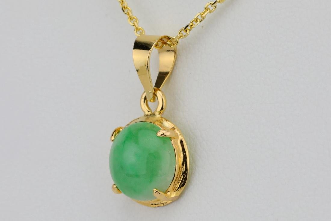 "10mm Jade & Solid 14K Yellow Gold 16"" Necklace - 3"