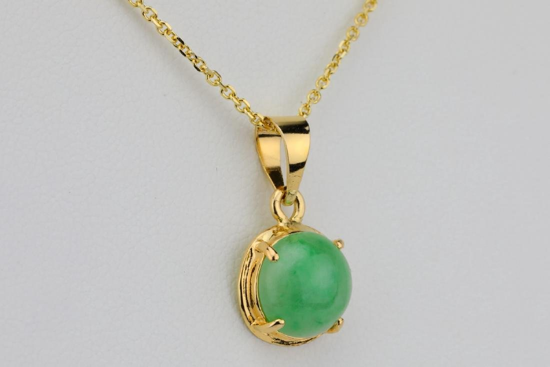 "10mm Jade & Solid 14K Yellow Gold 16"" Necklace - 4"