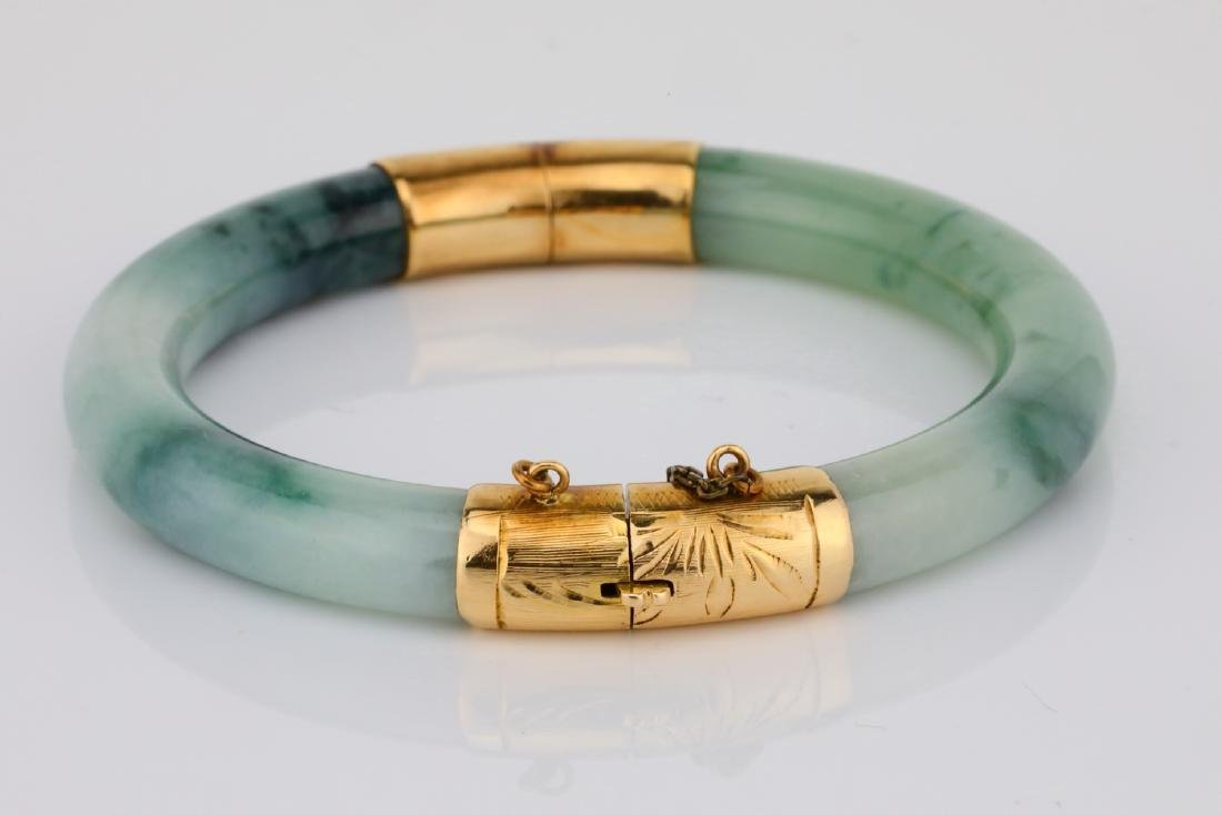 8.5mm Jade & 14K Yellow Gold Bangle Bracelet