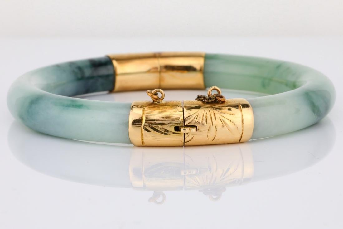 8.5mm Jade & 14K Yellow Gold Bangle Bracelet - 2