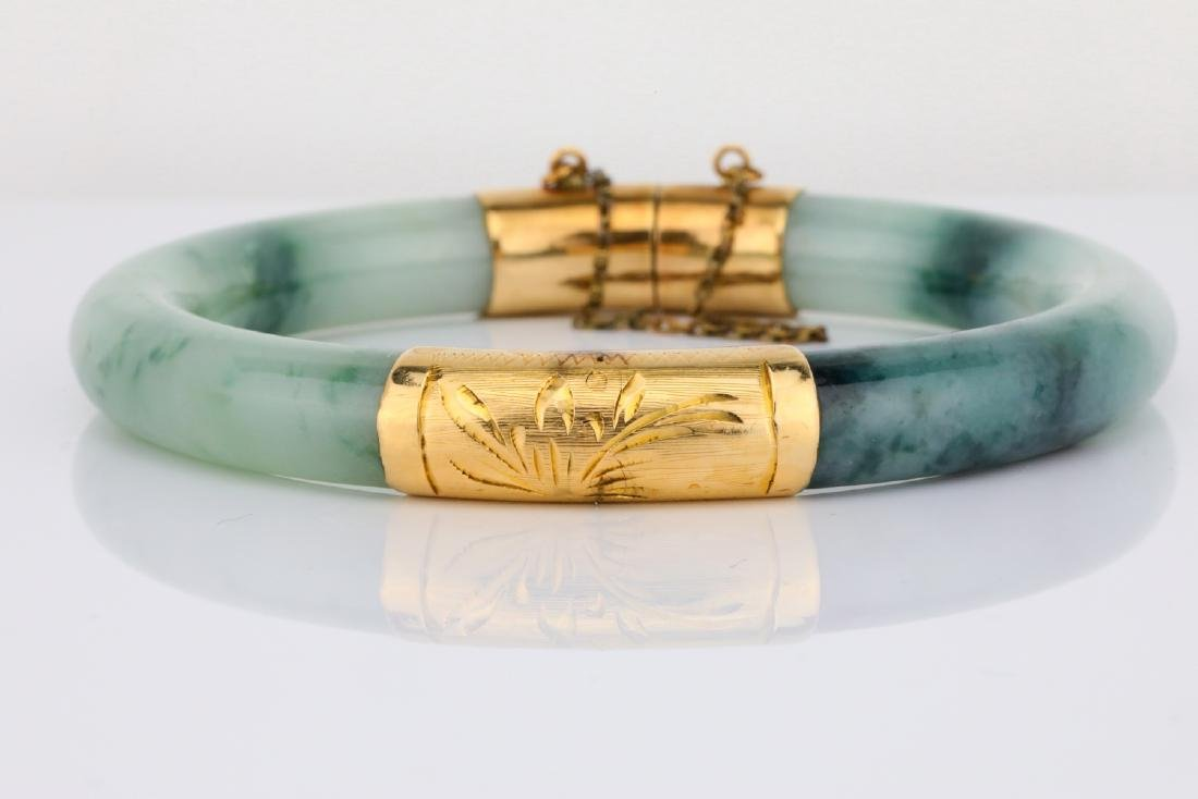 8.5mm Jade & 14K Yellow Gold Bangle Bracelet - 5