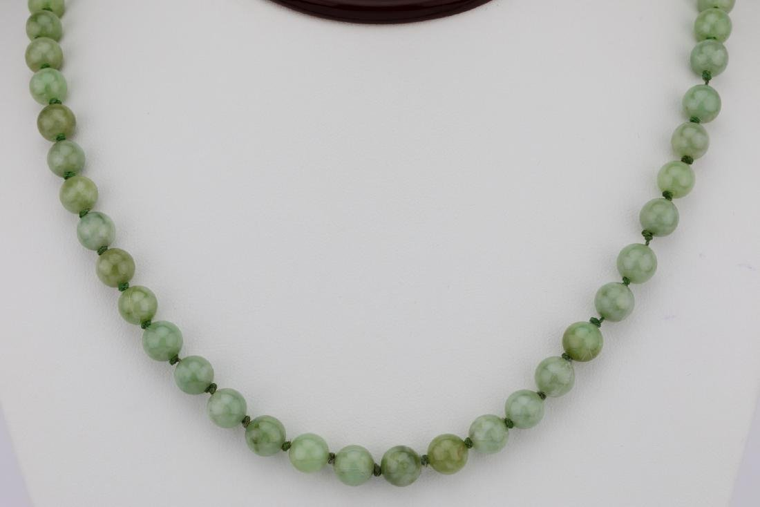 "7mm-8mm Jade Bead 22.5"" Necklace W/14K Clasp"