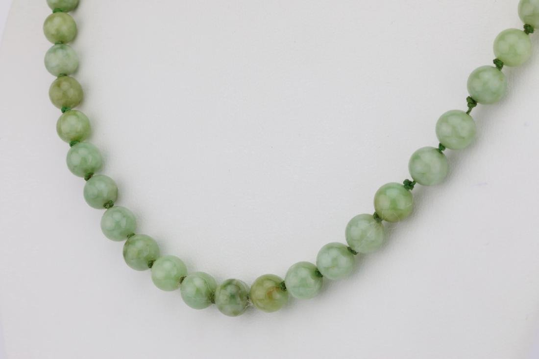 "7mm-8mm Jade Bead 22.5"" Necklace W/14K Clasp - 3"