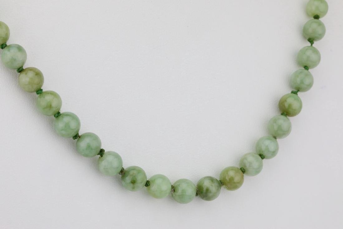"7mm-8mm Jade Bead 22.5"" Necklace W/14K Clasp - 4"