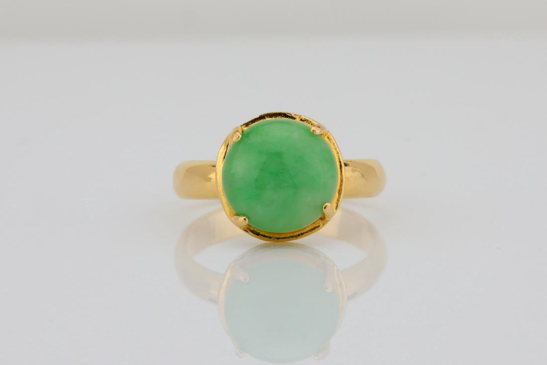 10.5mm Green Jade & Solid 18K Yellow Gold Ring