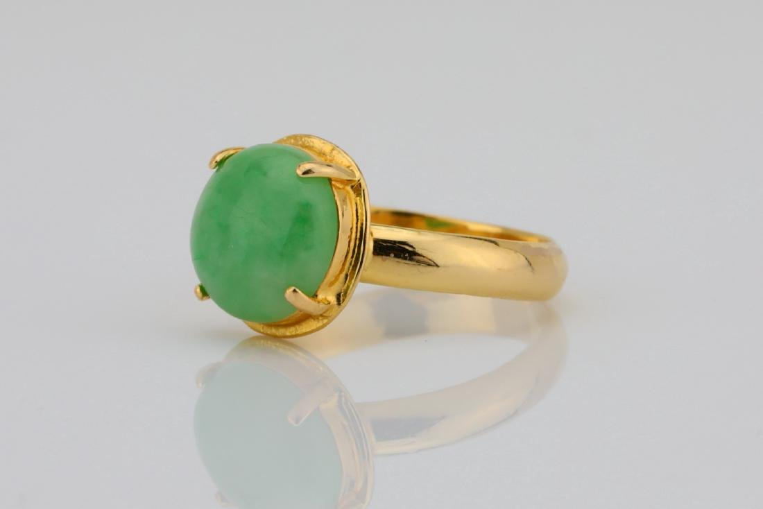 10.5mm Green Jade & Solid 18K Yellow Gold Ring - 2