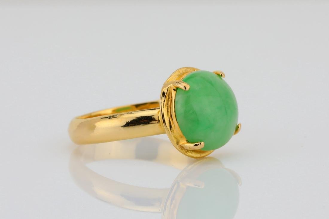 10.5mm Green Jade & Solid 18K Yellow Gold Ring - 3