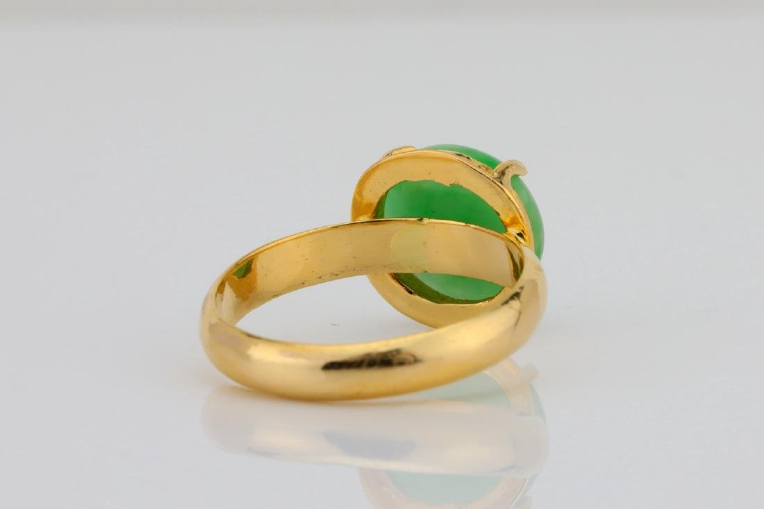 10.5mm Green Jade & Solid 18K Yellow Gold Ring - 4