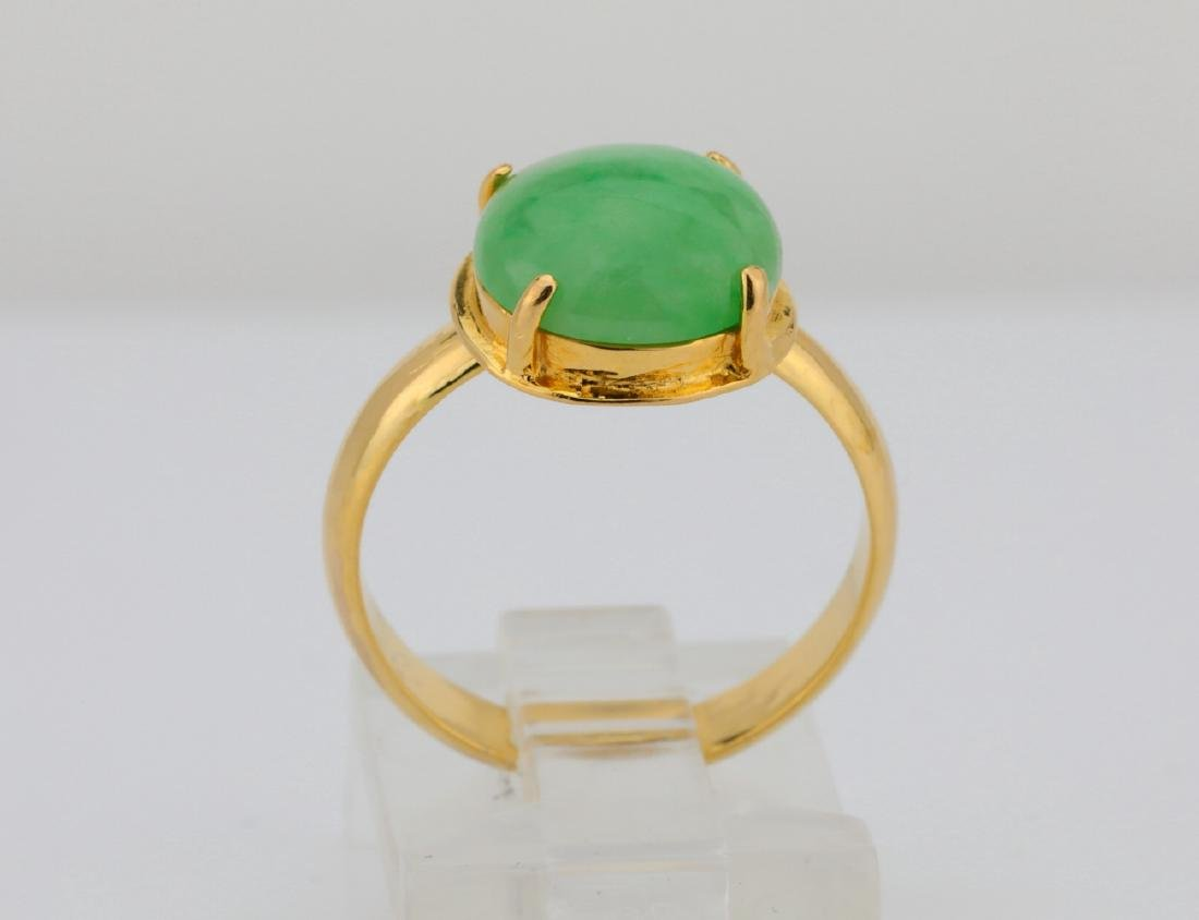 10.5mm Green Jade & Solid 18K Yellow Gold Ring - 5
