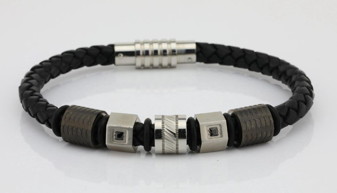 Black Leather & SS Bracelet W/Black Diamonds