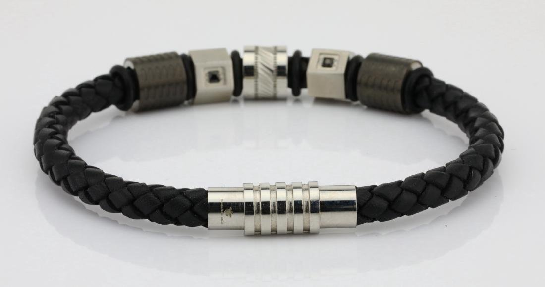 Black Leather & SS Bracelet W/Black Diamonds - 4