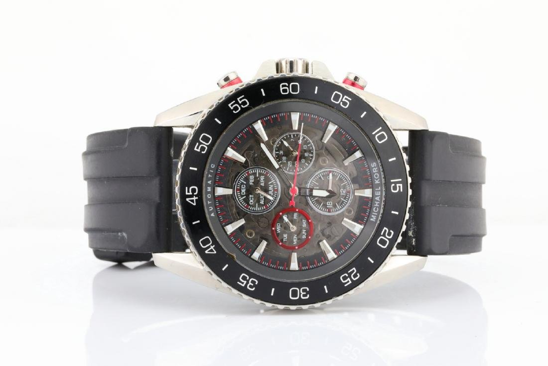Michael Kors SS & Black Rubber Automatic Watch