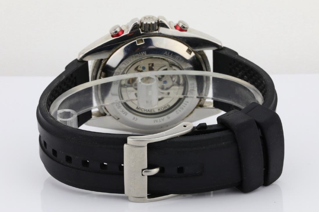 Michael Kors SS & Black Rubber Automatic Watch - 5