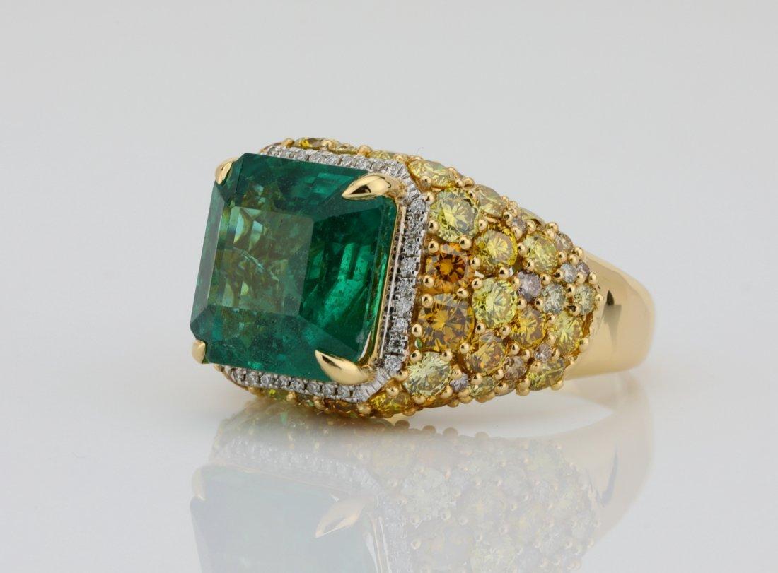 7.75ct Emerald, 4.2ctw VS1 Multi-Color Diamond 14K Ring