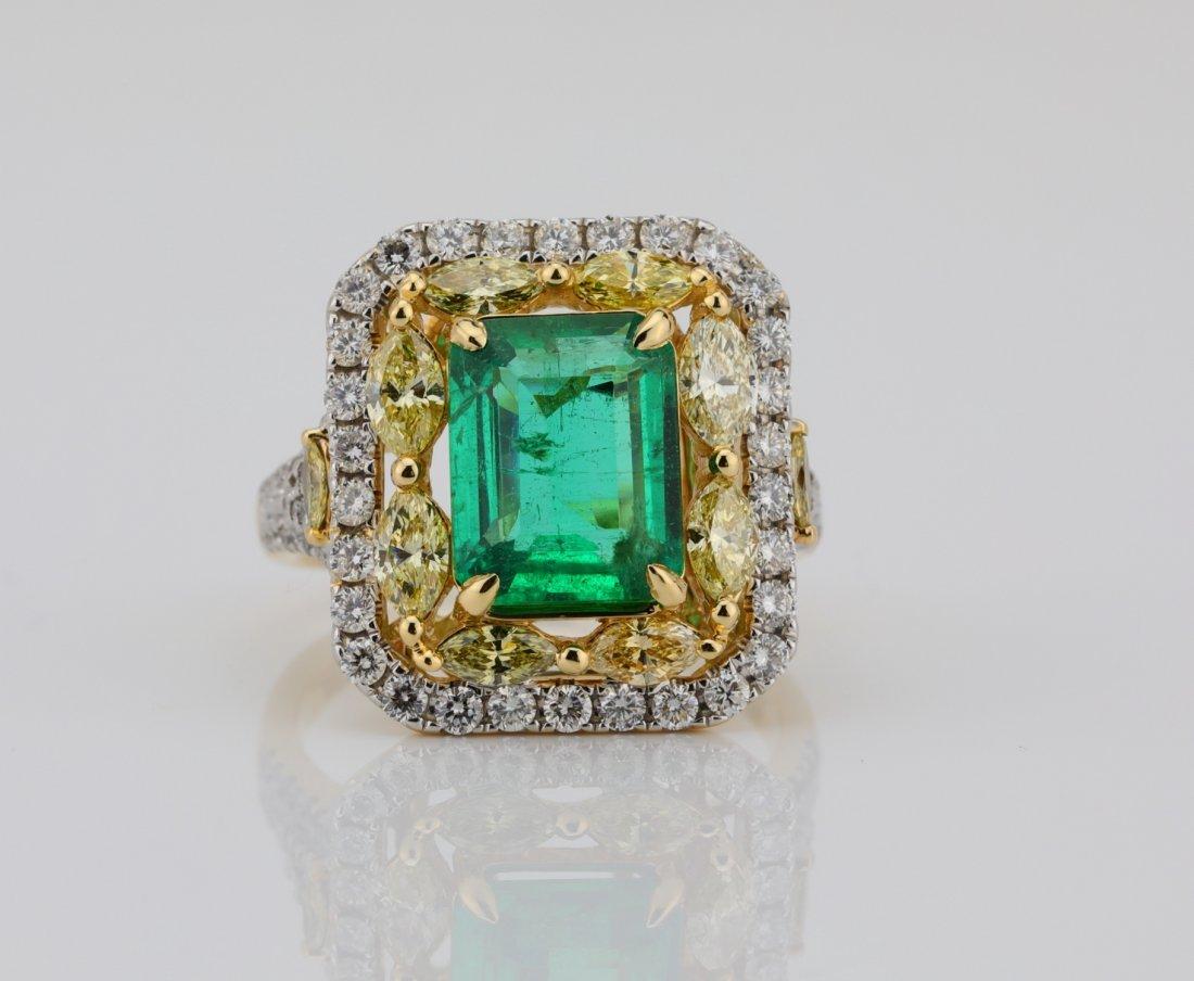 3ct Emerald, 2ctw VS Diamond 14K Ring ($28K Appraisal)