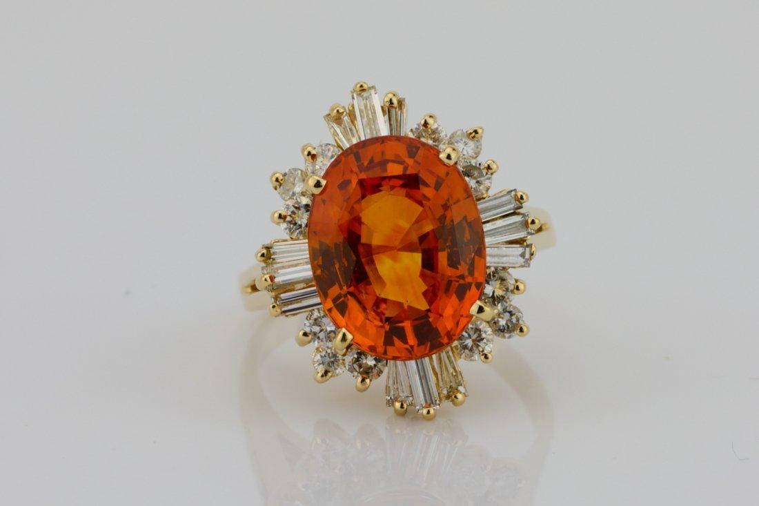 7.04ct GIA Orange Sapphire in Diamond & 14K Ring