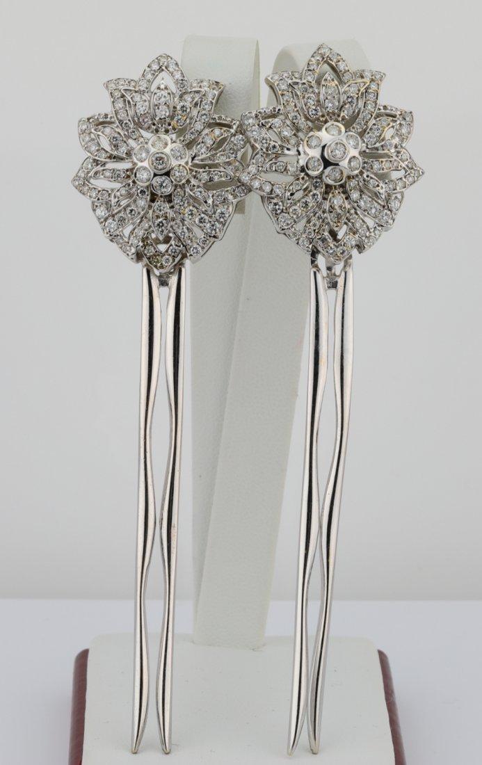 "6ctw VS1-VS2/G-H Diamond & 18K 4.25"" Hair Pins"