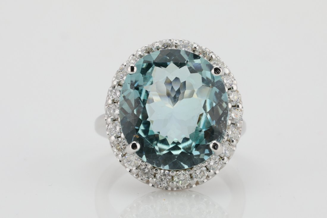 14.25ct Aquamarine, 1.60ctw Diamond & 14K Ring