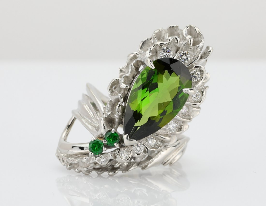 4.30ct Green Tourmaline, Diamond & Platinum Ring