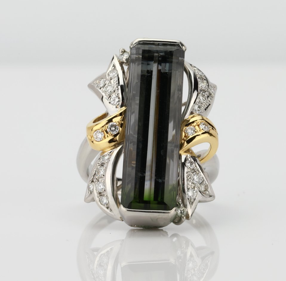 11.10ct Bi-Color Tourmaline & Platinum/18K Ring