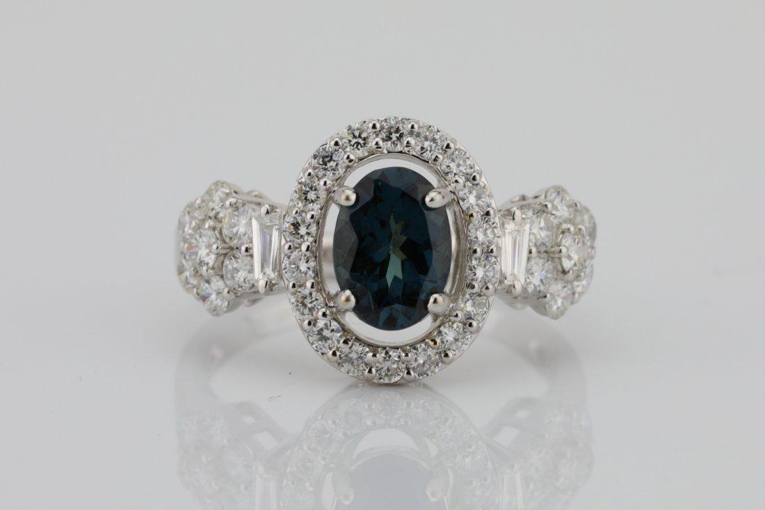 1.35ct Color Change Garnet, Diamond & 18K Ring