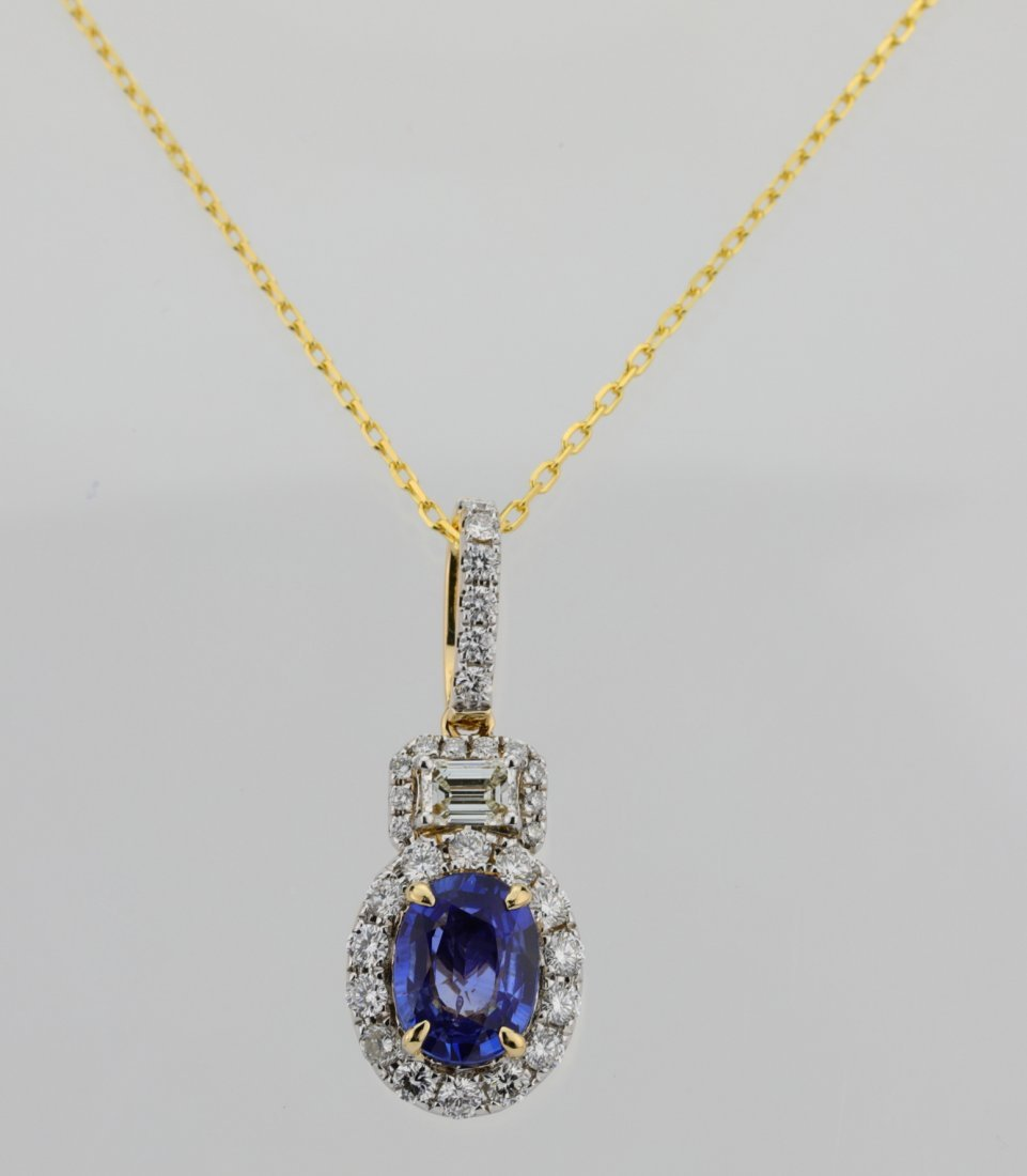 1.35ct Blue Sapphire, 0.75ctw Diamond 14K Necklace