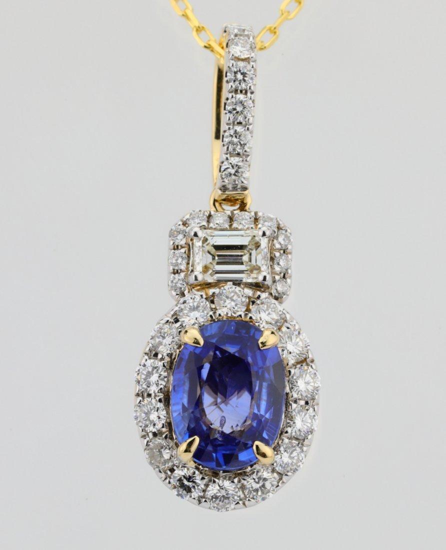 1.35ct Blue Sapphire, 0.75ctw Diamond 14K Necklace - 2