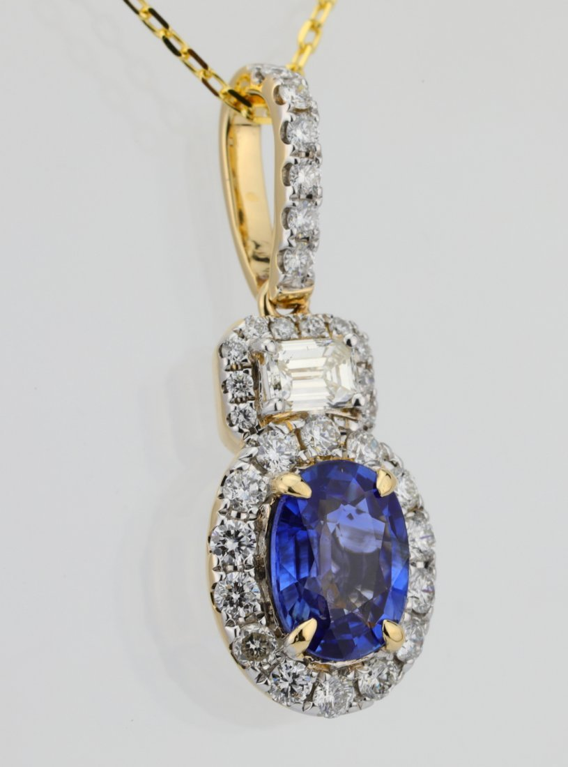 1.35ct Blue Sapphire, 0.75ctw Diamond 14K Necklace - 4