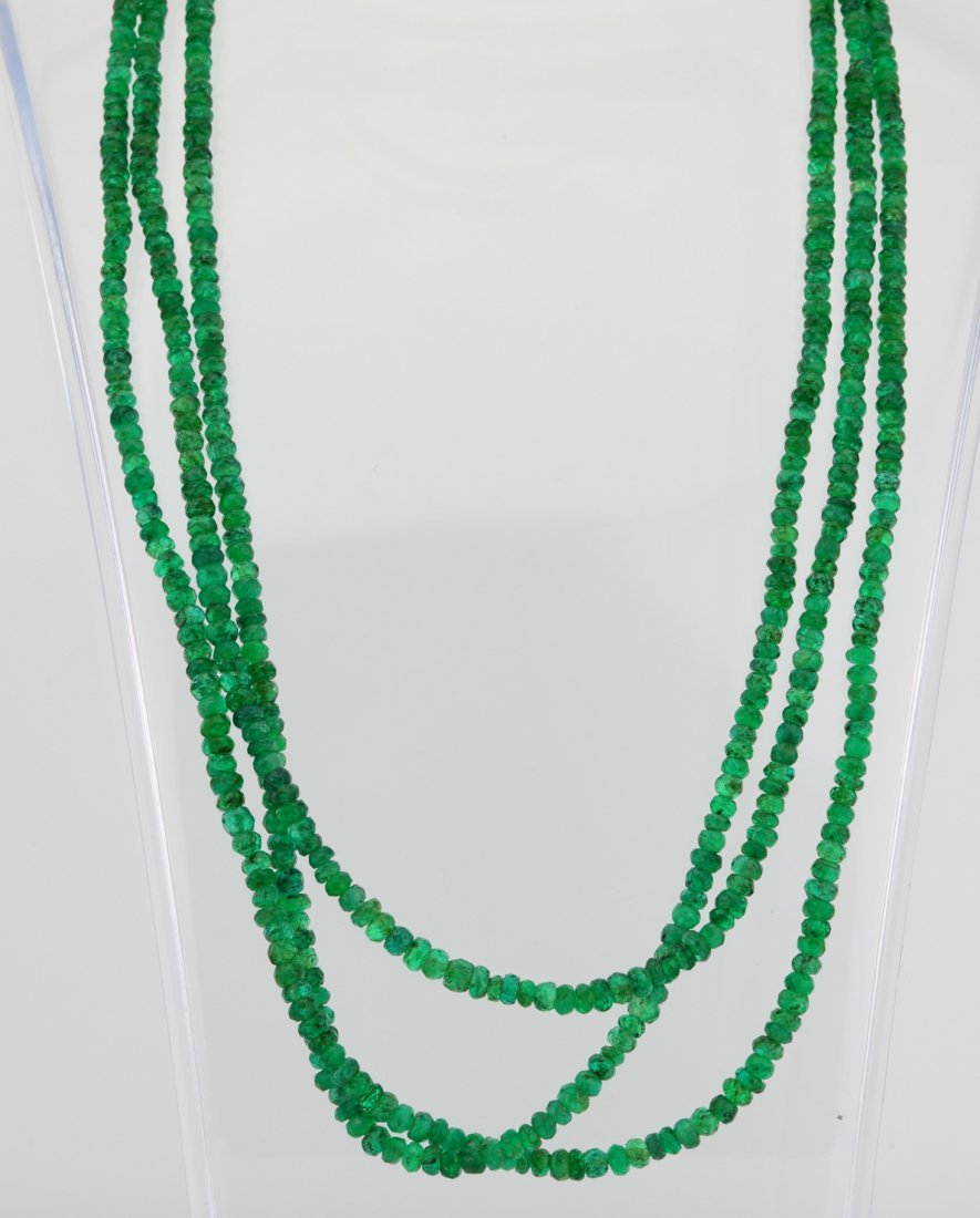 104.50ctw Emerald 3-Strand Necklace W/14K Clasp