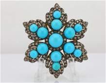 Le Vian 450ctw Diamond Turquoise  14K Brooch