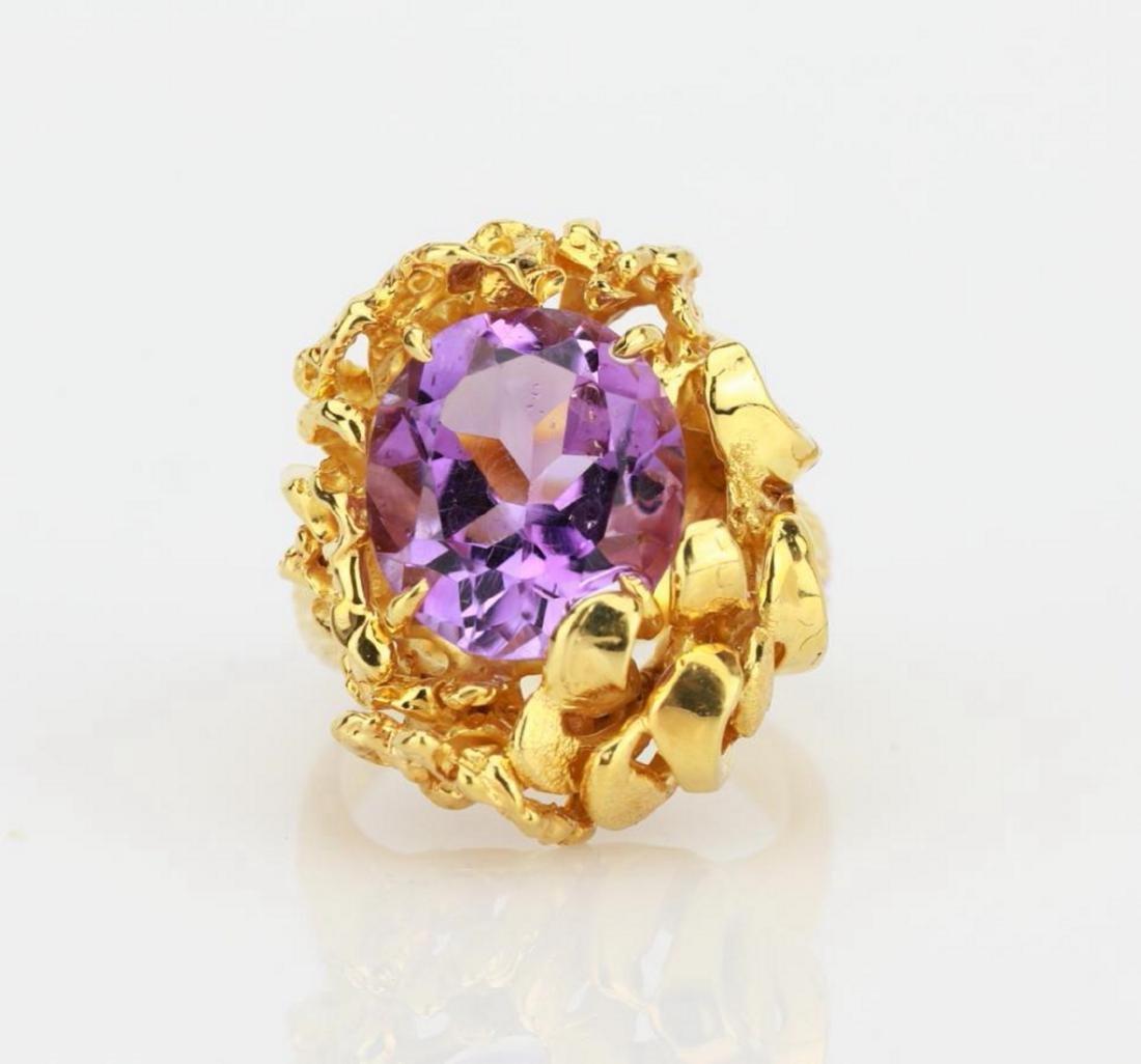 6.50ct Purple Gemstone & 14K Yellow Gold Ring