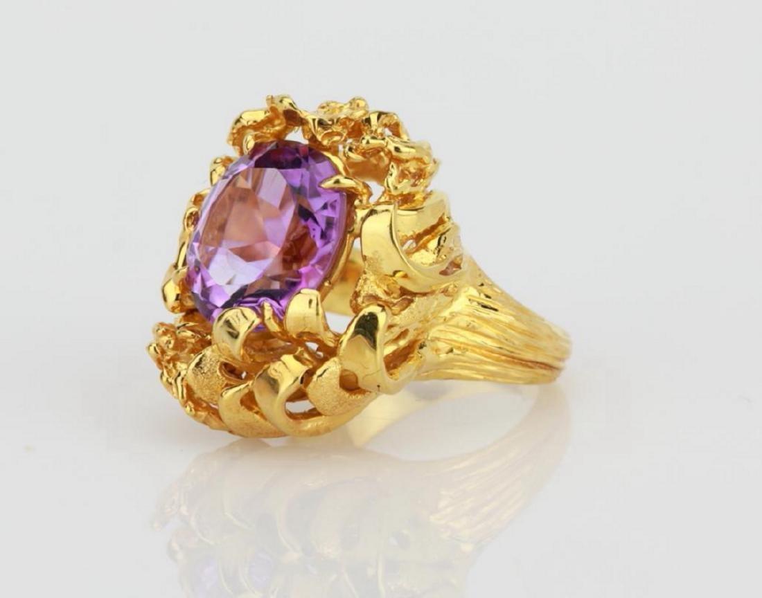 6.50ct Purple Gemstone & 14K Yellow Gold Ring - 2
