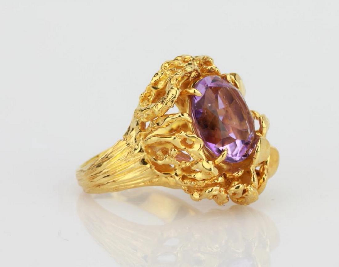 6.50ct Purple Gemstone & 14K Yellow Gold Ring - 3
