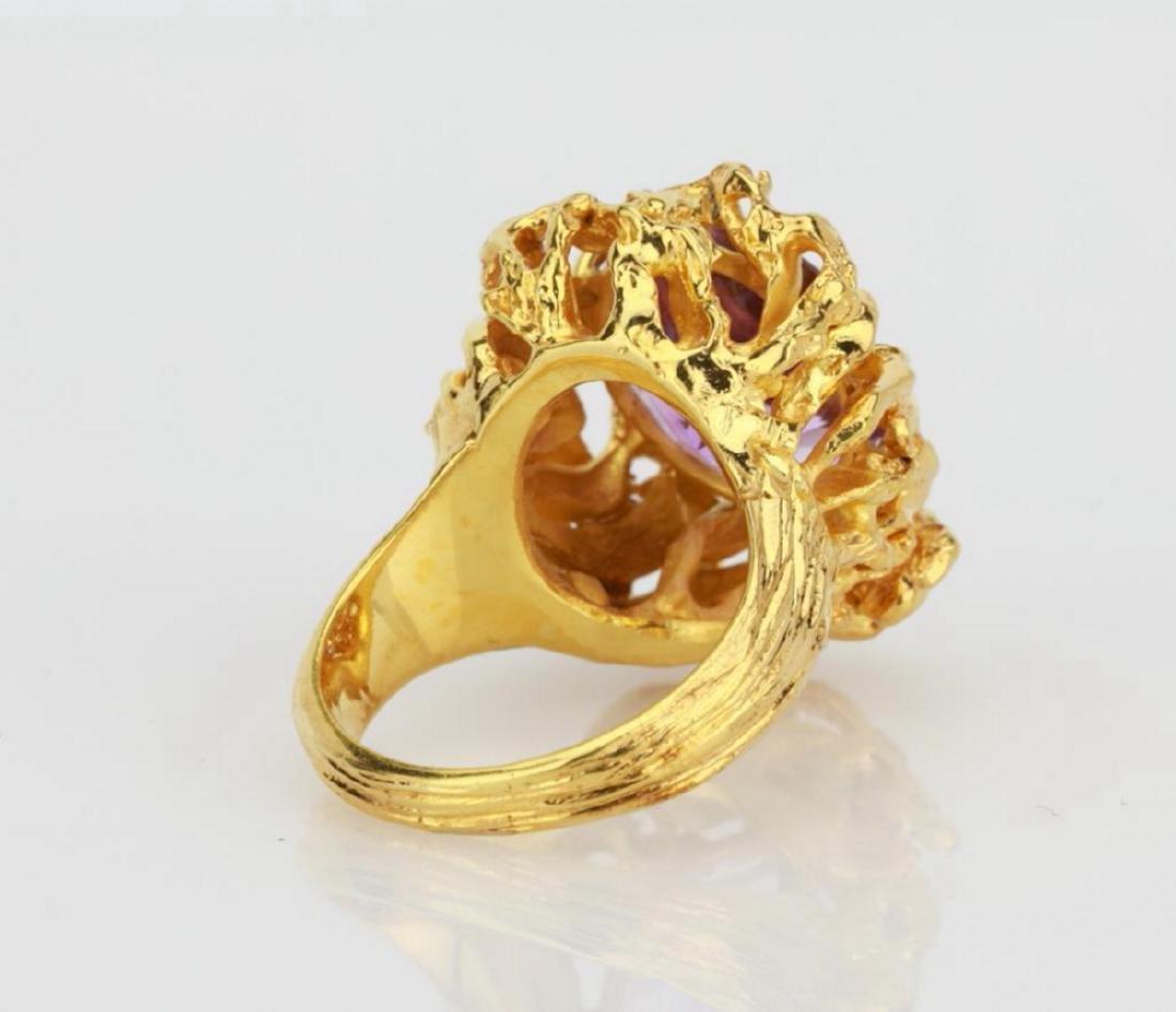 6.50ct Purple Gemstone & 14K Yellow Gold Ring - 4