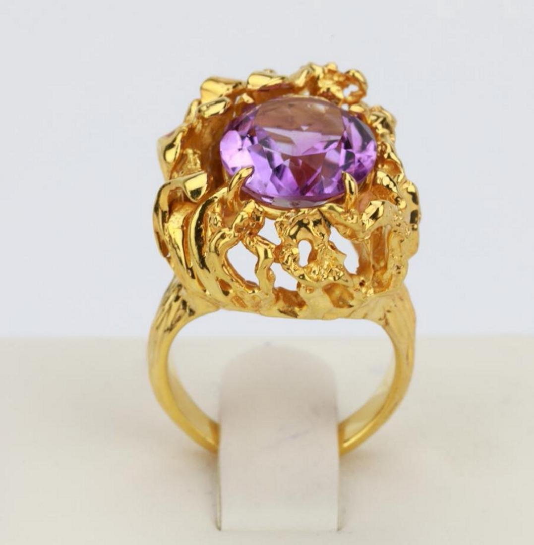 6.50ct Purple Gemstone & 14K Yellow Gold Ring - 5