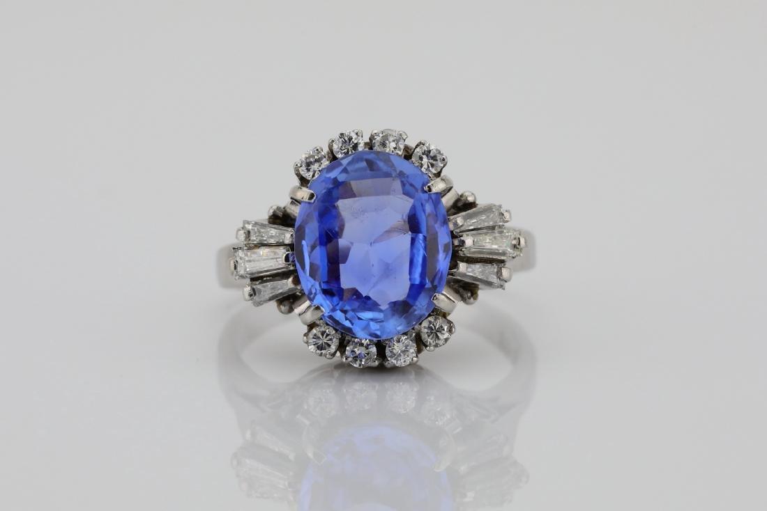 4.05ct GIA Blue Sapphire, Diamond & Platinum Ring