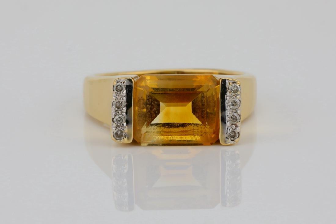 3.50ct Citrine & 14K Ring W/Diamond Accents