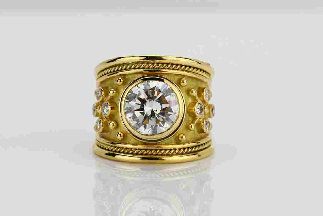 Elizabeth Gage 4.01ct GIA Diamond 18K Yellow Gold Ring