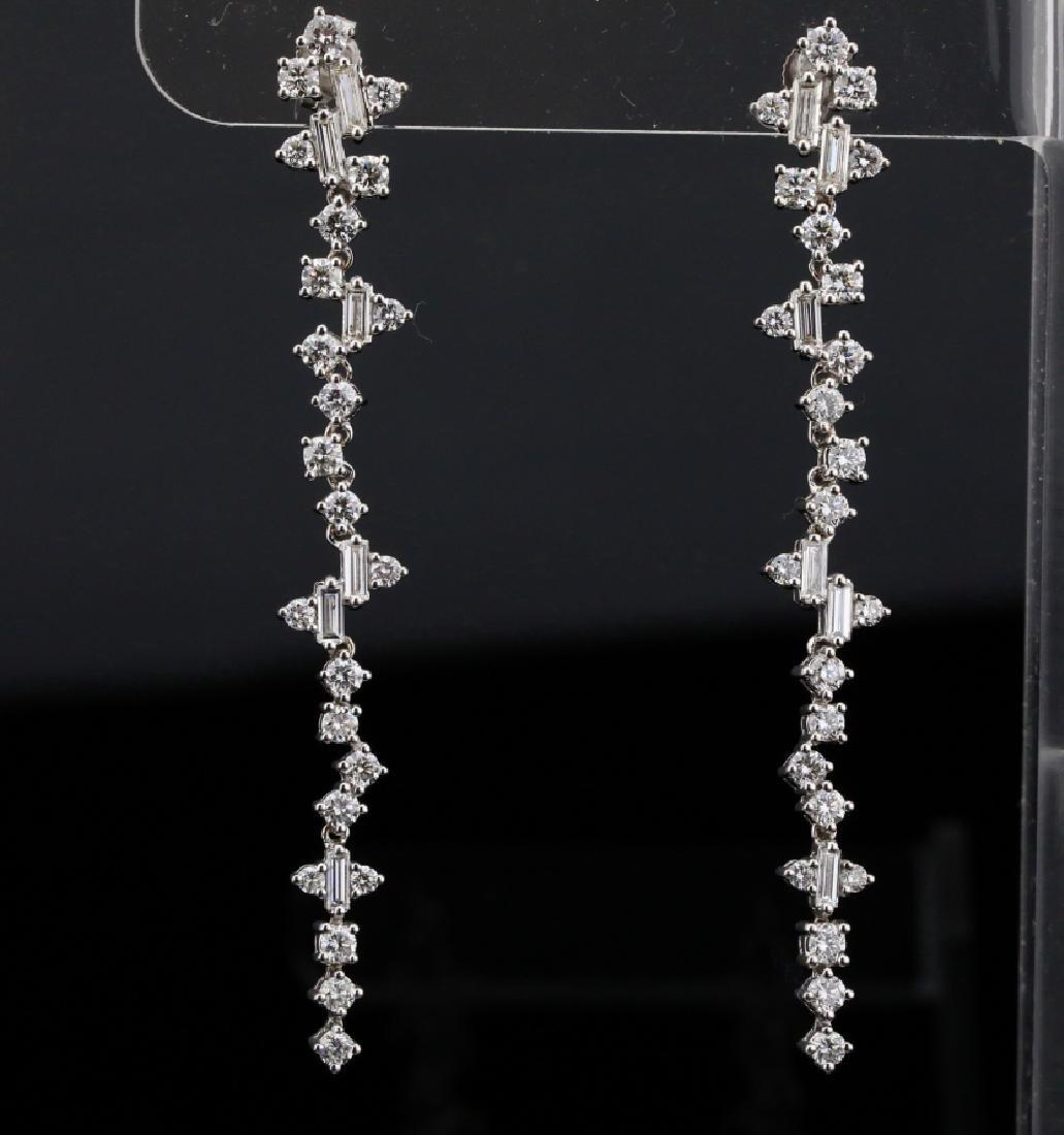 """3.90ctw VS1-VS2/G-H Diamond & 18K 2.5"""" Earrings"""