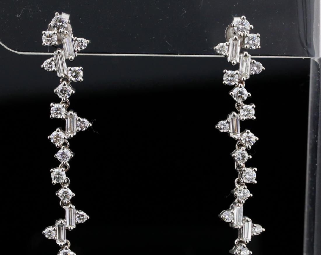 """3.90ctw VS1-VS2/G-H Diamond & 18K 2.5"""" Earrings - 2"""