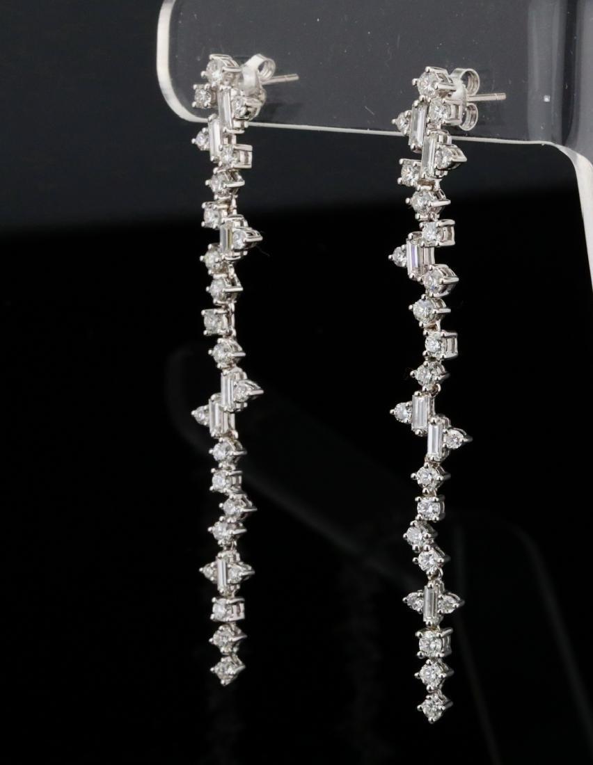 """3.90ctw VS1-VS2/G-H Diamond & 18K 2.5"""" Earrings - 4"""