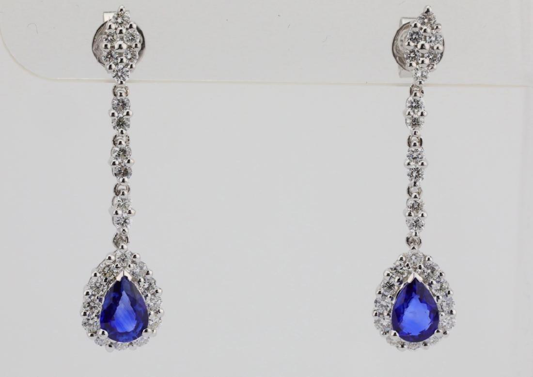 """2.20ctw Diamond & Blue Sapphire 18K 1.5"""" Earrings"""