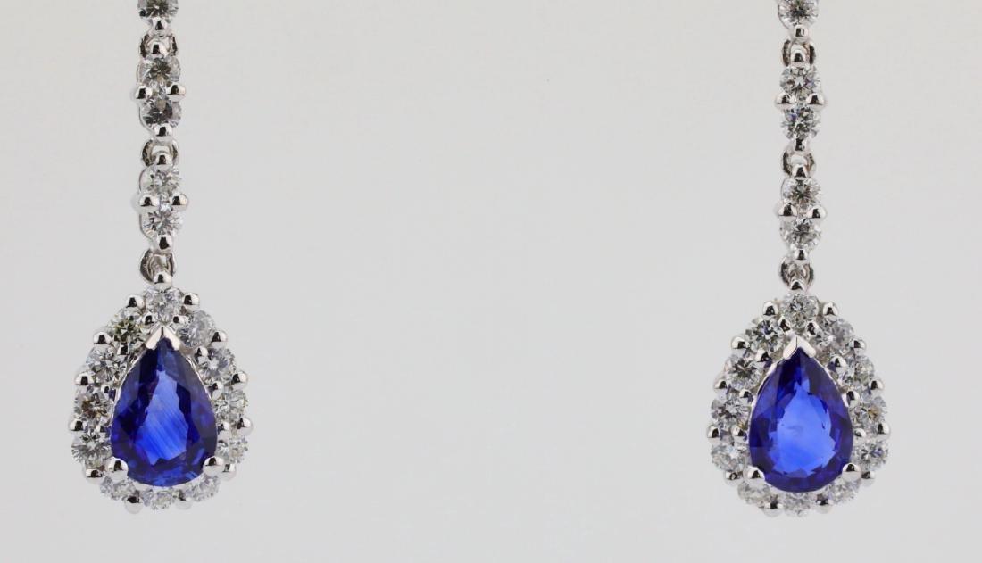 """2.20ctw Diamond & Blue Sapphire 18K 1.5"""" Earrings - 2"""