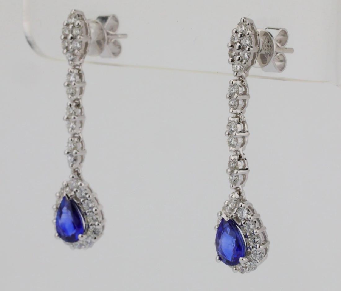 """2.20ctw Diamond & Blue Sapphire 18K 1.5"""" Earrings - 3"""