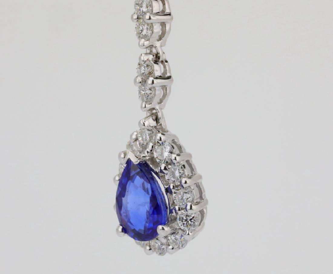 """2.20ctw Diamond & Blue Sapphire 18K 1.5"""" Earrings - 4"""