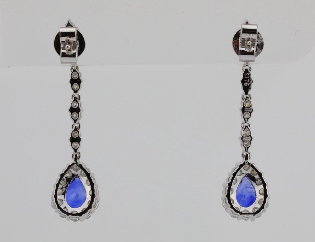 """2.20ctw Diamond & Blue Sapphire 18K 1.5"""" Earrings - 6"""
