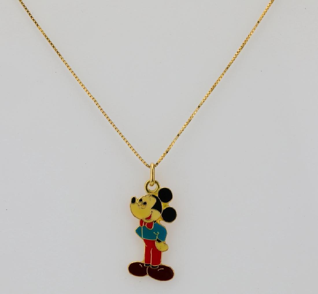 "18K & Enamel 1.25"" Mickey Pendant W/20"" Box Chain"