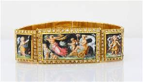 1850s French 18K 4ctw Ruby  175ctw Diamond Bracelet